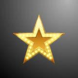 Guld- stjärnalogo med ljusa kulor för din design, vektorillustration Royaltyfria Foton