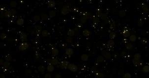 Guld- stjärnapartiklar med ljus effekt för starglow på svart kretsade bakgrund stock video