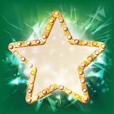 Guld- stjärnaramvektor glöda för element Stjärna med ljusa kulor Plakat affischtavlamellanrum Bioillustration stock illustrationer
