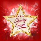 Guld- stjärnaramvektor Skönhet Diamond Star Emblem Skenlampa Annonsering av designbeståndsdelen Garneringillustration stock illustrationer