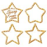 Guld- stjärnauppsättningvektor Ram för stjärna för tappningskenlampa glödande affischtavla 3D Upplyst neonljus för tappning Karne royaltyfri illustrationer