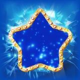 Guld- stjärnavektor Kontur av det guld- diskot, kasino, karnevalstjärnatecken Baner affischmall blå text för avstånd för rörelse  royaltyfri illustrationer