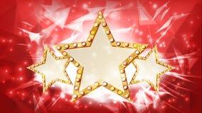 Guld- stjärnavektor strålar Kontur tre av det guld- diskot, kasino, karnevalstjärnatecken Baner affischmall Affär royaltyfri illustrationer