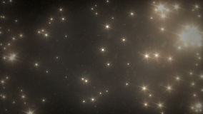 Guld- stjärnor och snö som faller från himlen på natten stock video