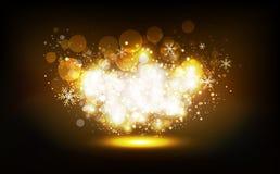 Guld- stjärnor sprider för att skimra partiet för vintern för jul för neonberömkonfettier, ljust damm som glöder, Bokeh oskarpt a vektor illustrationer