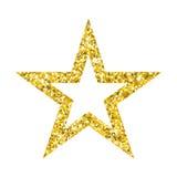 Guld- stjärna på vit Arkivbild