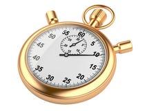 Guld- stoppur - tidbegrepp som isoleras på en vit bakgrund Arkivfoto