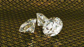 guld- stort over för bakgrundsdiamantdollar Royaltyfri Foto