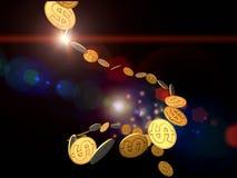 guld- ström för dollar Royaltyfri Foto