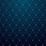 Guld- strecklinje modell för abstrakta geometriska fyrkanter på mörkt - blå bakgrundslyxstil royaltyfri illustrationer