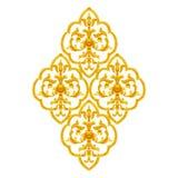 Guld- stuckaturdesign av den antika blomman för infödd thai stil Arkivfoton