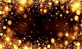 Guld- suddig bokehbakgrund, blänker, blänker stjärnor, ferie, jul, beröm, guldbröllop, gyckel, natten som är härlig, parti vektor illustrationer