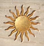 guld- sun för knapp Royaltyfri Foto