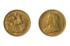 Guld- suveränt mynt av Storbritannien, 1893 royaltyfria bilder