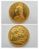 Guld- suveränt mynt 1887 som, är främre och tillbaka 2