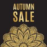 Guld- svart affisch för höstförsäljning med mandalaen Royaltyfri Foto