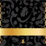 Guld- & svart dekorativt bakgrundskort Arkivbilder