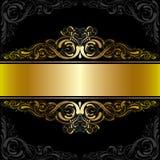 Guld- svart etikettdesign vektor illustrationer