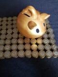 guld- svinspargris och staplade mynt av mexikanska pesos arkivfoto
