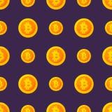 Guld- symbol av bitcoin i plan stil som isoleras på blå bakgrund Vektorseamleessmodell vektor för bild för designelementillustrat royaltyfri illustrationer