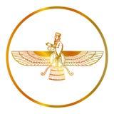 Guld- symbol av Zoroastrianism Farvahar royaltyfri illustrationer