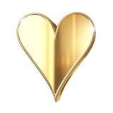 Guld- hjärta - som isoleras på vit Arkivfoton