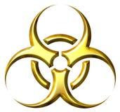 guld- symbol för biohazard 3d Royaltyfri Bild