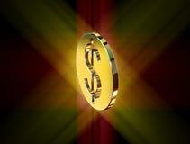 guld- symbol för dollar royaltyfri illustrationer