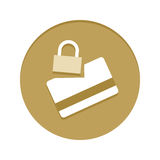 Guld- symbol för kreditkortsäkerhet Arkivfoto