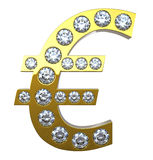guld- symbol för valutadiamanteuro Arkivbild