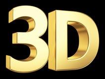 Guld- symbol som 3D isoleras på svart Arkivbild