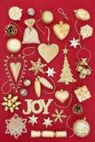 Guld- symboler av jul Fotografering för Bildbyråer