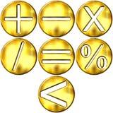 guld- symboler för math 3d stock illustrationer