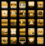 guld- symbolsiphoneset Stock Illustrationer