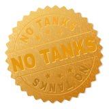 Guld TANKAR INTE medaljongstämpeln stock illustrationer