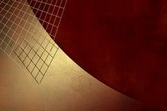 Guld- grungebakgrund med raster på pappers- röd tappning texturerar - den abstrakt investeringmallen Arkivfoton