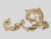 Guld- tappningbeståndsdel, prydnad på vit bakgrund Royaltyfri Illustrationer