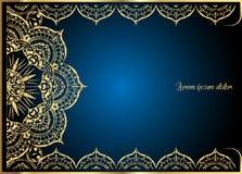 Guld- tappninghälsningkort på blå bakgrund Lyxig prydnadmall Utmärkt för inbjudan, reklamblad, meny, broschyr vektor illustrationer