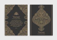 Guld- tappninghälsningkort på en svart bakgrund Lyxig prydnadmall stock illustrationer