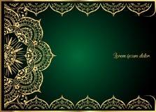 Guld- tappninghälsningkort på grön bakgrund Lyxig prydnadmall Utmärkt för inbjudan, reklamblad, meny, broschyr Royaltyfria Bilder