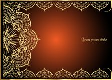 Guld- tappninghälsningkort på orange bakgrund Lyxig prydnadmall Utmärkt för inbjudan, reklamblad, meny, broschyr Royaltyfria Bilder
