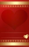 Guld- tappningmall med hjärta. Royaltyfri Fotografi