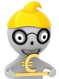 guld- tecken 3D av euroet i hand Royaltyfria Bilder