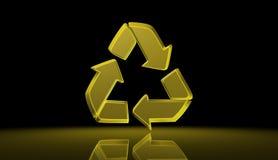 Guld- tecken för återvinning, illustration Royaltyfri Bild