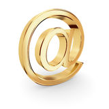 guld- tecken för e-post Arkivfoto