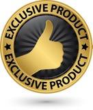 Guld- tecken för exklusiv produkt med tummen upp, vektorillustration Fotografering för Bildbyråer