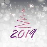 2019 guld- tecken för nytt år med guld- blänker vit försilvrar skinande bakgrund nytt vektorår för illustration stock illustrationer