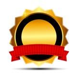 Guld- tecken för vektor, etikettmall Fotografering för Bildbyråer
