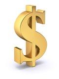 guld- tecken för dollar Arkivbilder