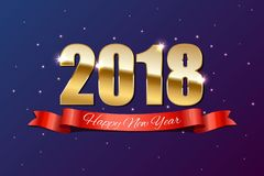 2018 guld- tecken och det röda bandet med lyckligt nytt år smsar på feriebakgrund Arkivbild